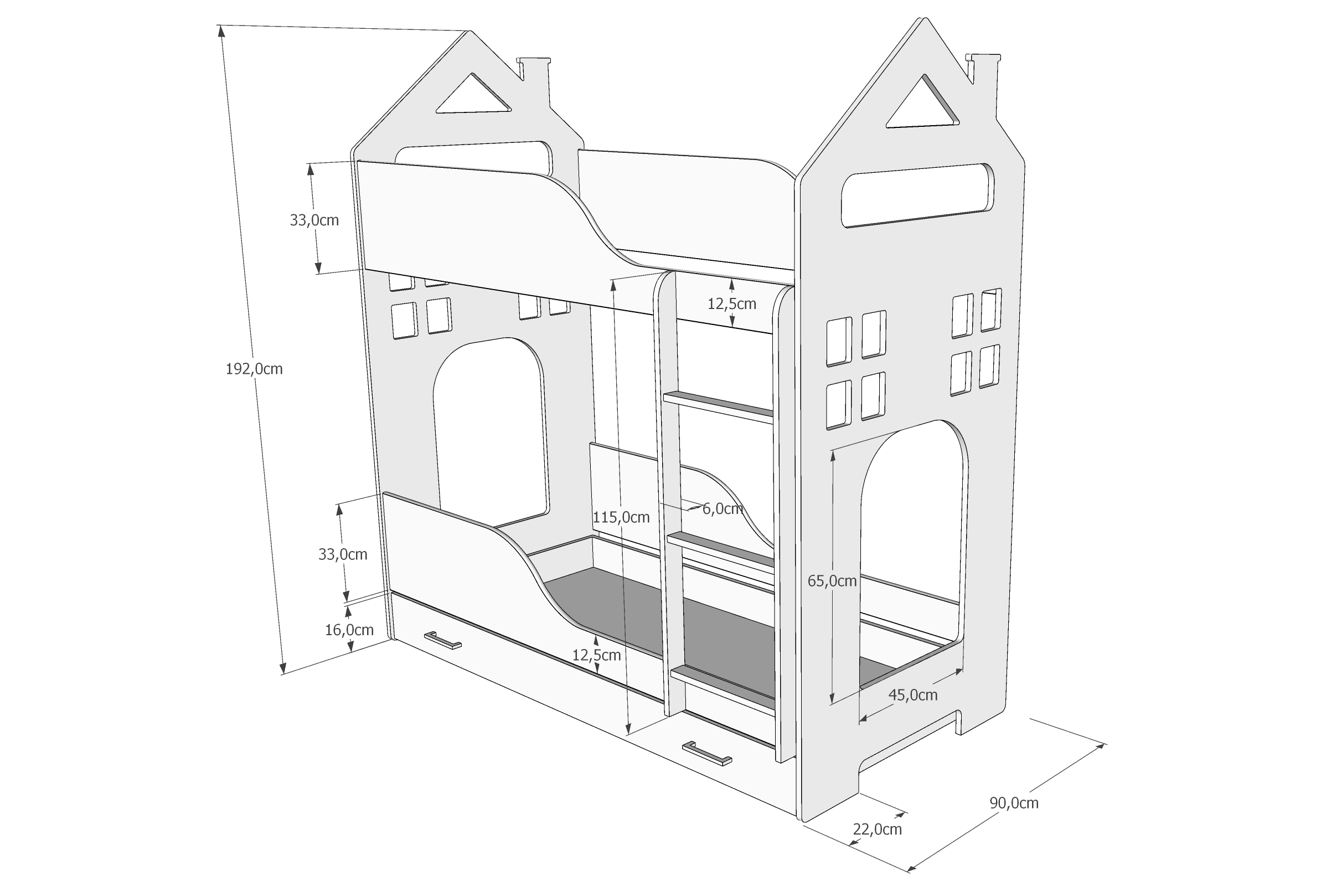 łóżko Piętrowe Domek Z Szufladą Pinewood Meble Dla Dzieci I